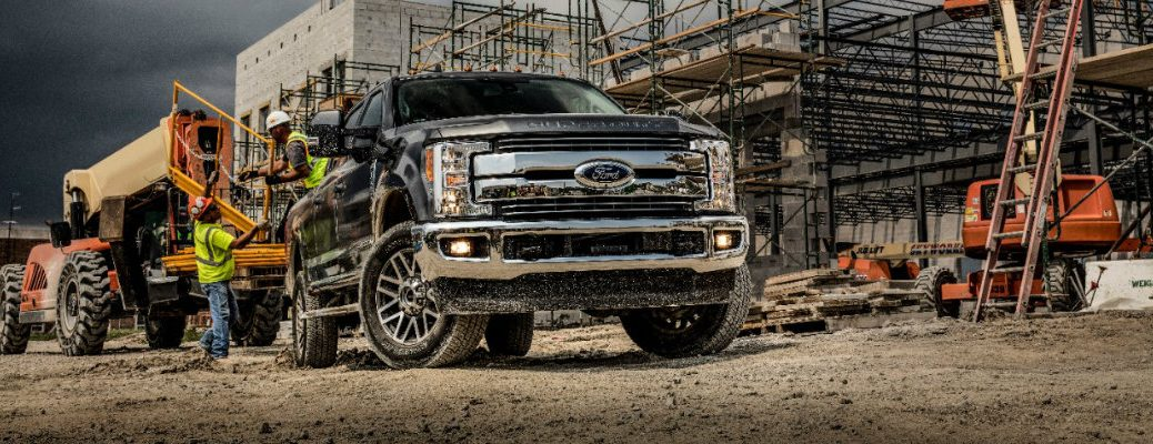 Shot of 2019 Ford Super Duty F-350 parked at worksite