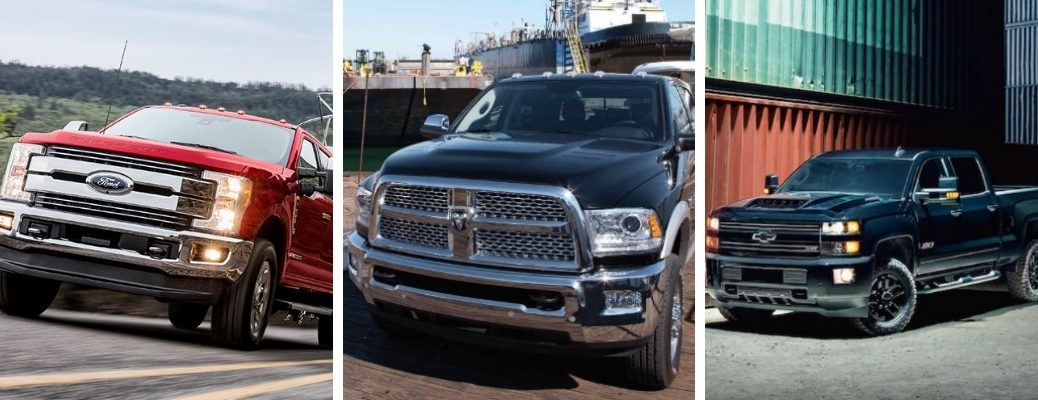 2019 Ford Super Duty PIckup next to RAM Heavy Duty and Chevrolet Silverado HD models