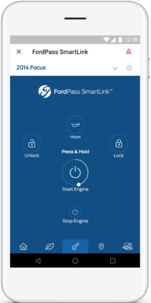 Ford Pass SmartLink interface showing Vehicle Controls