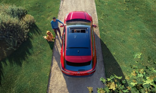 Overhead view of 2020 Ford Escape with panoramic sunroof shown