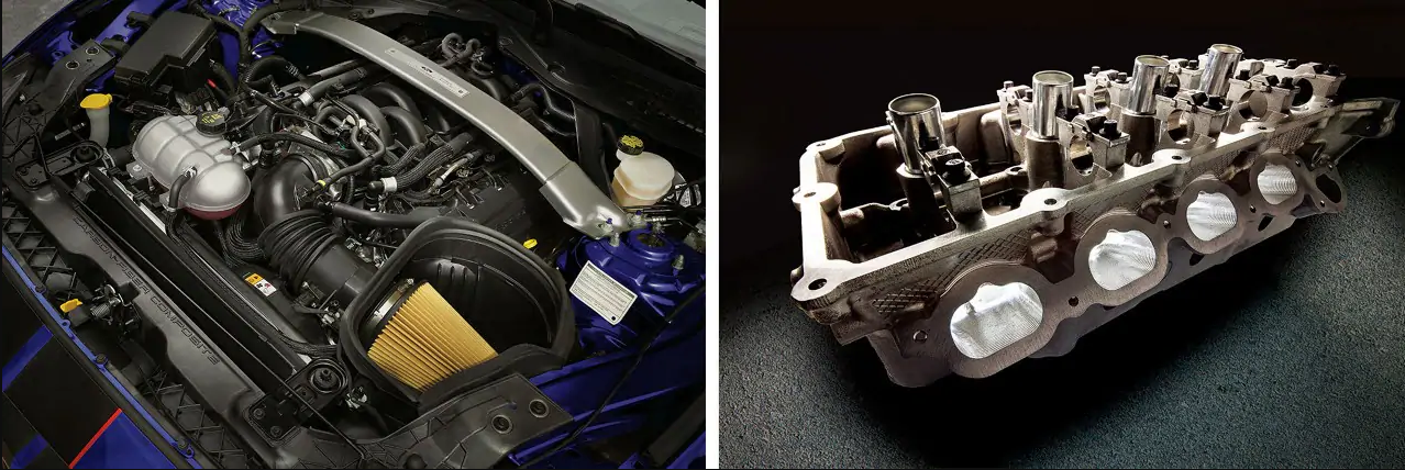 Isolated view inside 2019 Ford Mustang Shelby GT350 engine