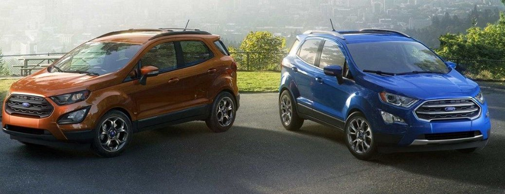 Two 2019 Ford EcoSport models next to each other in parking lot