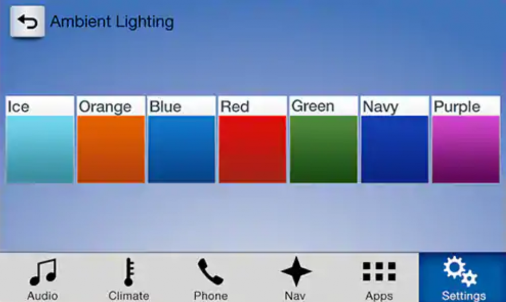SYNC 3 touchscreen displaying ambient light colours