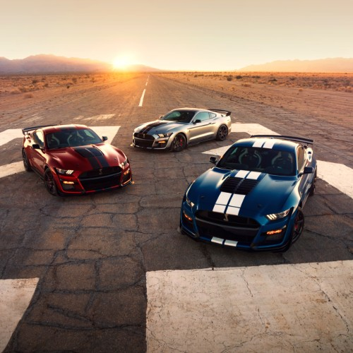 Three 2020 Ford Mustang Shelby GT500 models on track