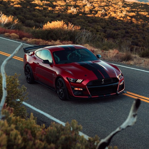 Red 2020 Ford Mustang Shelby GT500 driving on country road