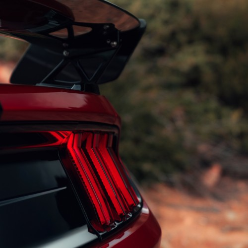 Rear taillights and spoiler of 2020 Ford Mustang Shelby GT500
