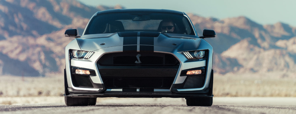 Front grille and headlights of silver and black 2020 Ford Mustang Shelby GT500