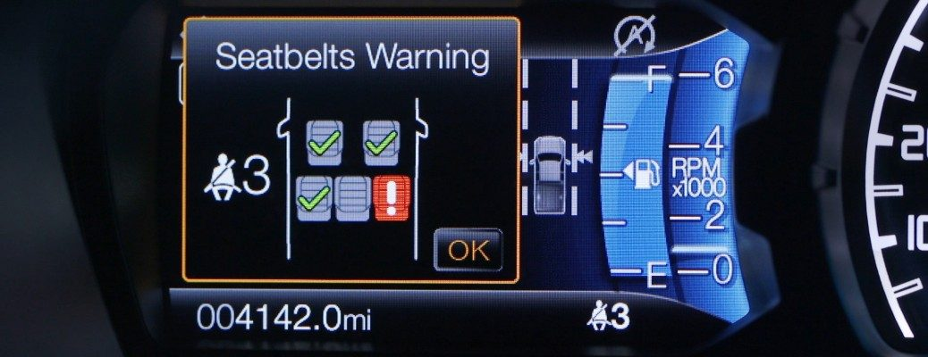 Seat Belt Monitor information screen inside 2019 Ford Ranger