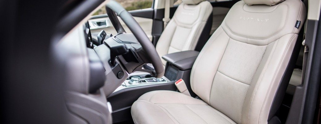 Front two seats inside 2020 Ford Explorer