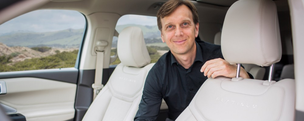 Mike Kolich from Ford posing with 2020 Explorer seats