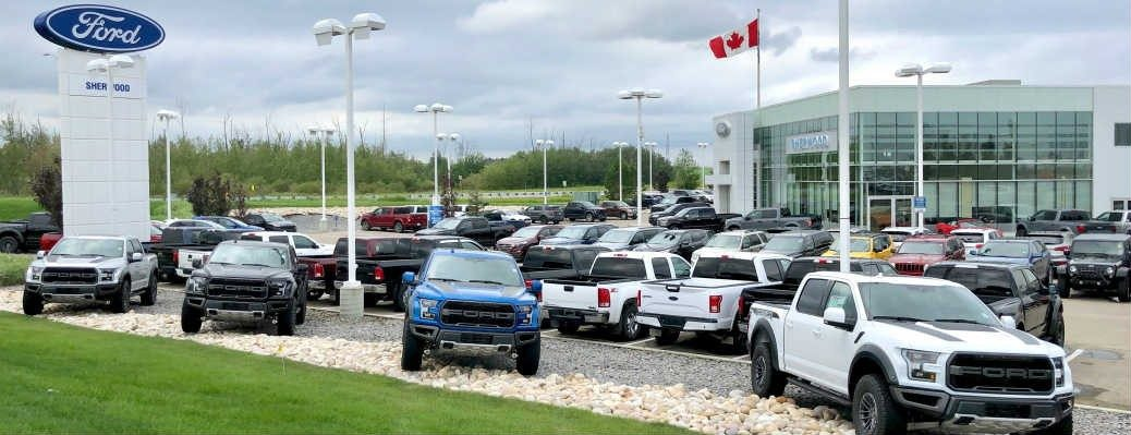 Group of Ford F-150 Raptor models on display at Sherwood Ford