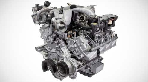 Isolated image of Ford Super Duty Power Stroke diesel engine