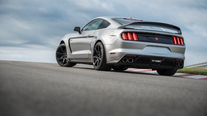 Rear shot of silver 2020 Ford Mustang Shelby GT350R