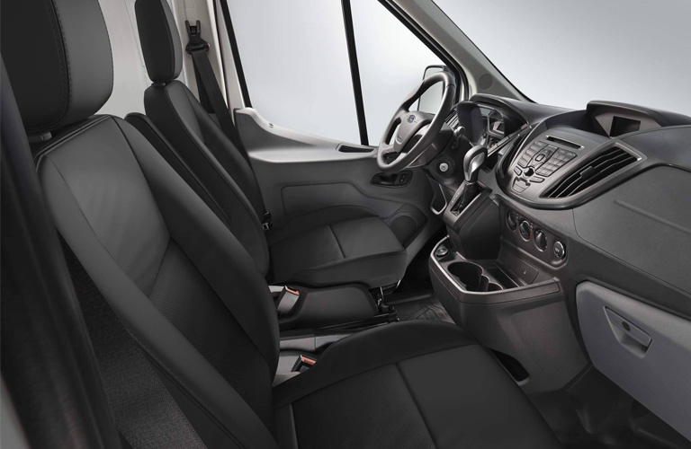 Front row of seating inside 2020 Ford Transit