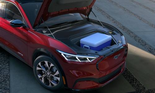 2021 Mustang Mach-E drainable front trunk storage unit provides 4.8 cubic feet of storage space