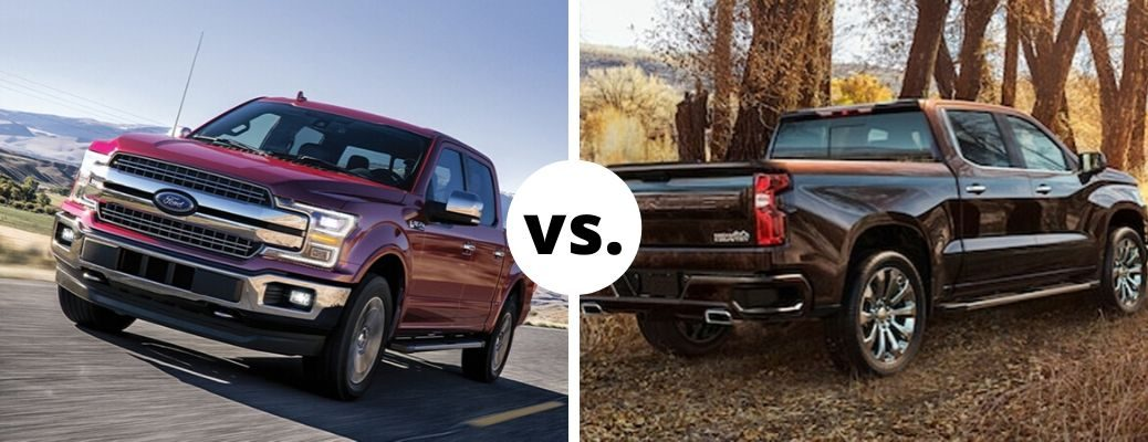 Red 2020 Ford F-150 and 2020 Chevrolet Silverado