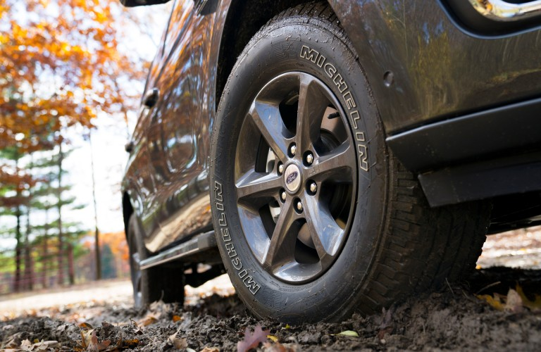 Front tire of 2020 Ford Expedition with FX4 package equipped