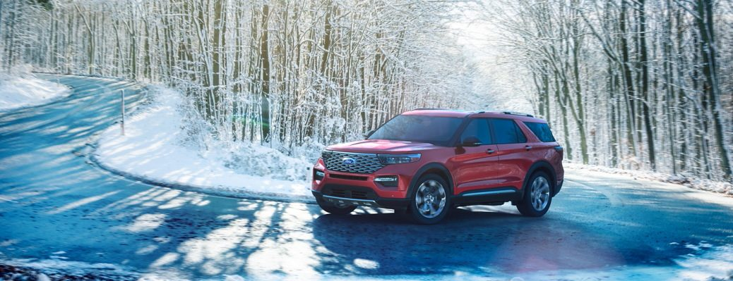2020 Explorer on winding winter road