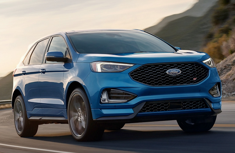 Front view of blue 2020 Ford Edge