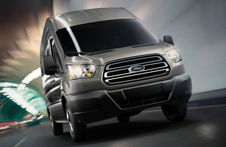 Front view of 2020 Ford Transit driving through tunnel