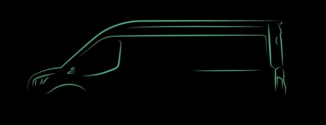 black image of the all-electric 2022 Ford Transit