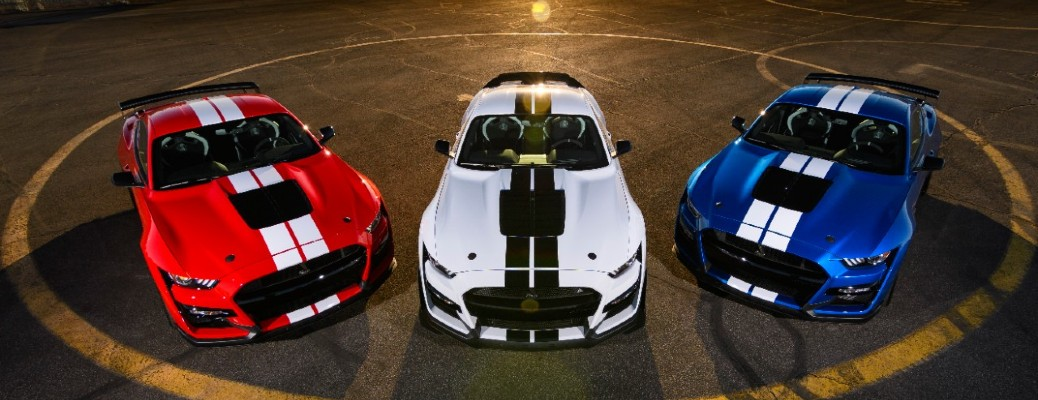 three 2020 Ford Mustang vehicles in a row