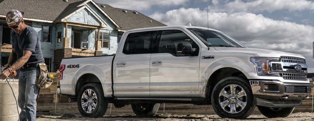 side view of silver 2020 Ford F-150