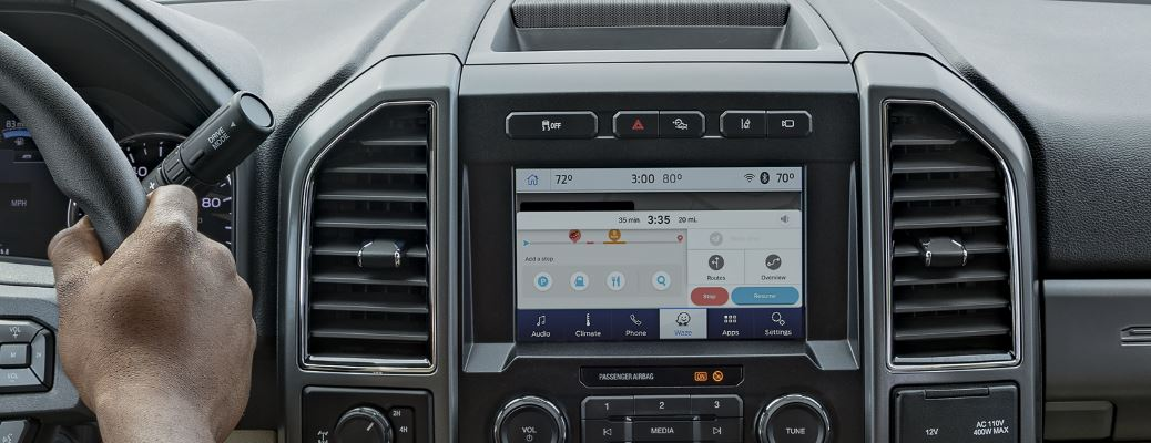 image of Waze on touch screen