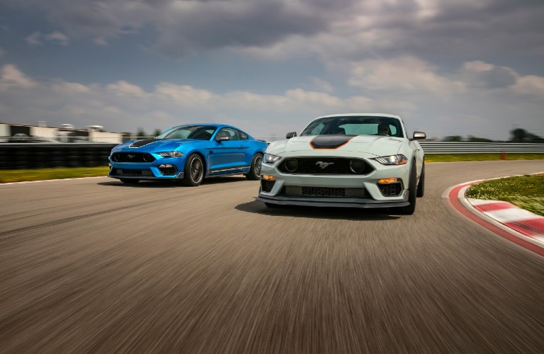 two 2021 Ford Mustang Mach 1 vehicles