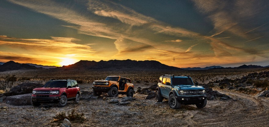 2021 Ford Bronco vehicles in a sunset