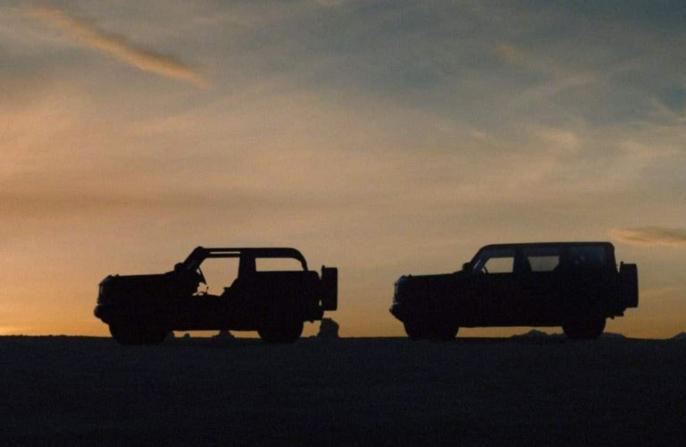 2021 Ford Bronco side view in the dark