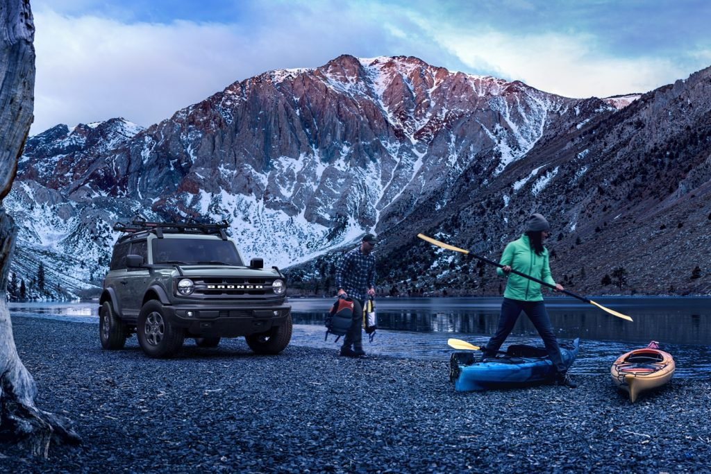 2021 Ford Bronco with people and kayaks