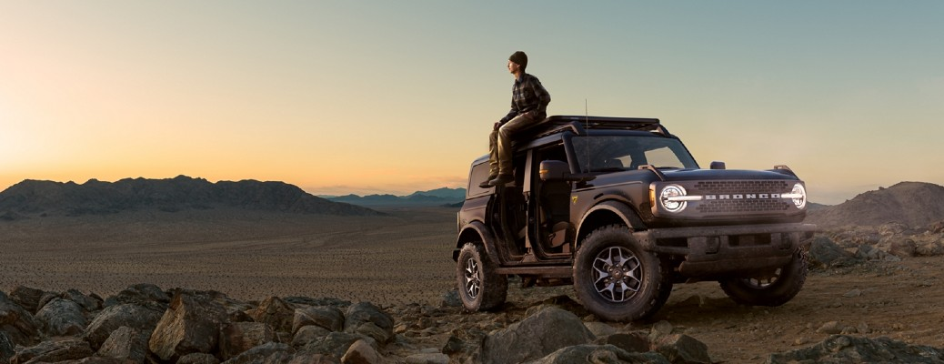 2021 Ford Bronco with a person sitting on it