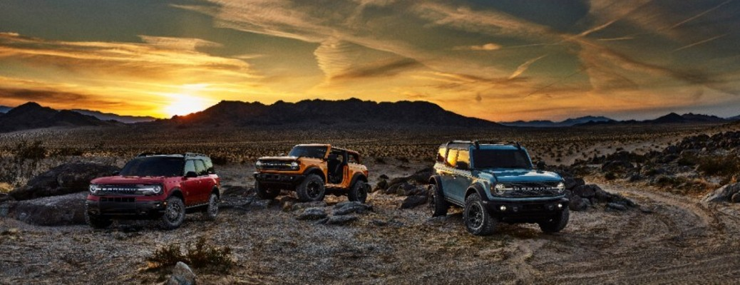 2021 Ford Bronco vehicles in a row