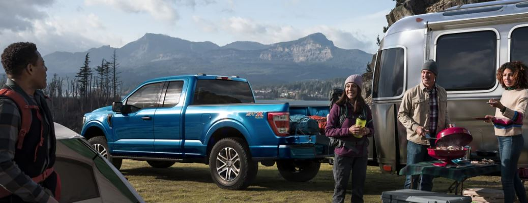 2021 Ford F150 side view with four people
