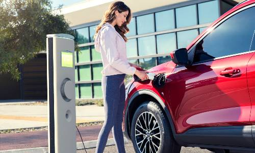 2020 Ford Escape PHEV driver at charging station