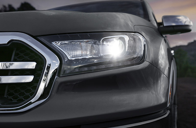 2020 Ford Ranger headlight close up