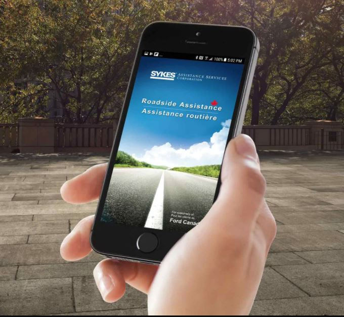 Ford Roadside Assistance application on a smartphone