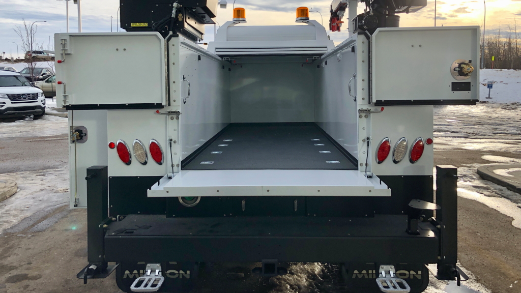 custom 2020 Ford F-550 crane truck rear view