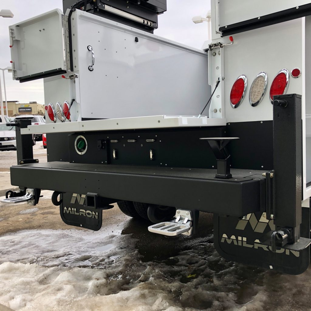 custom 2020 Ford F-550 crane truck close up of bumper