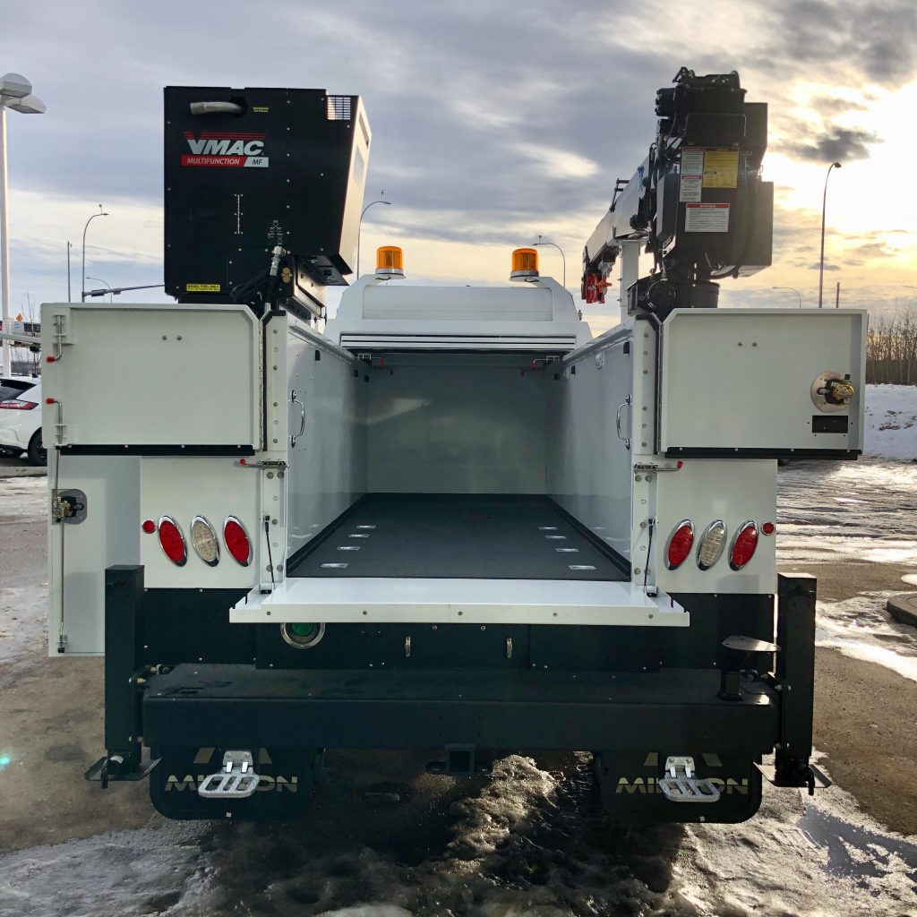 custom 2020 Ford F-550 crane truck rear view with open hatch