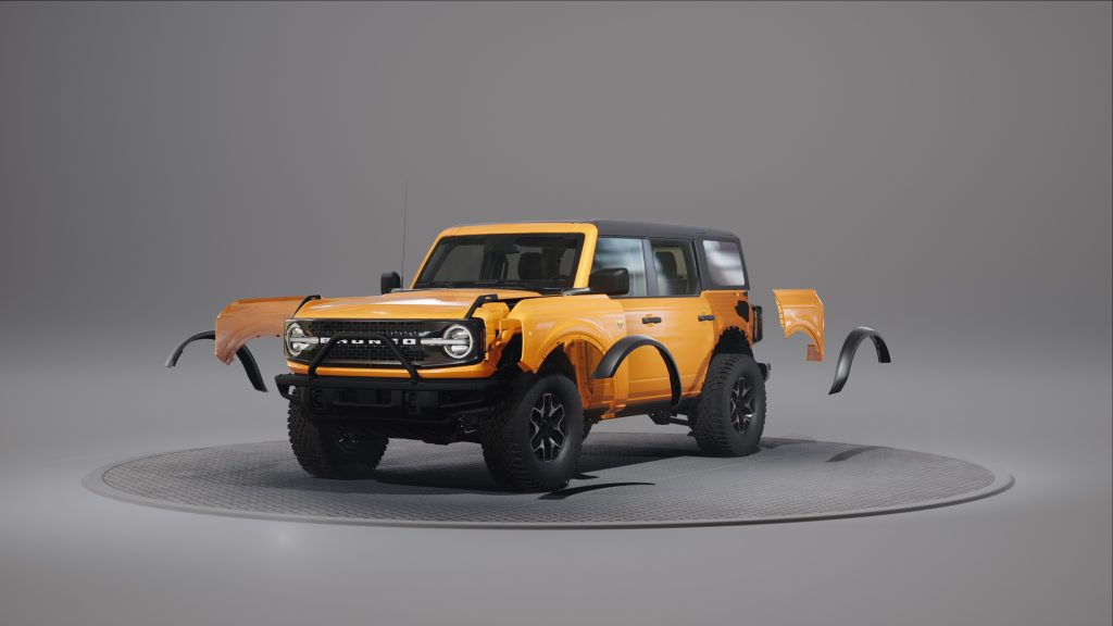 2021 Ford Bronco with fender flares removed
