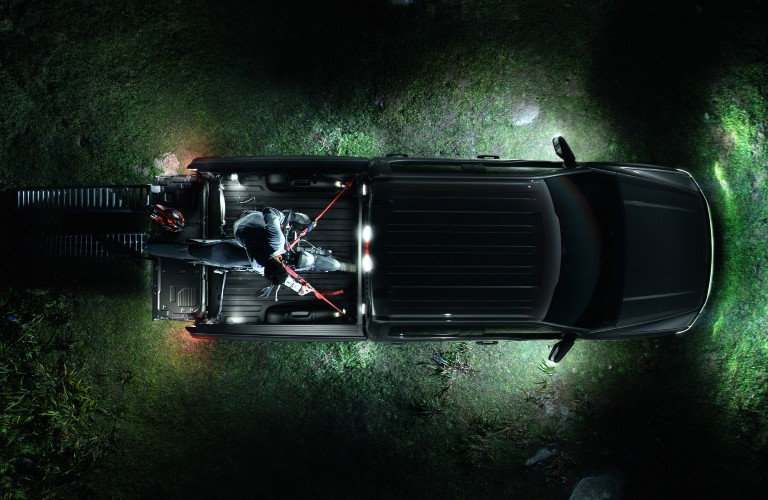 2022 Ford F-150 Lightning top view with lights on in the dark