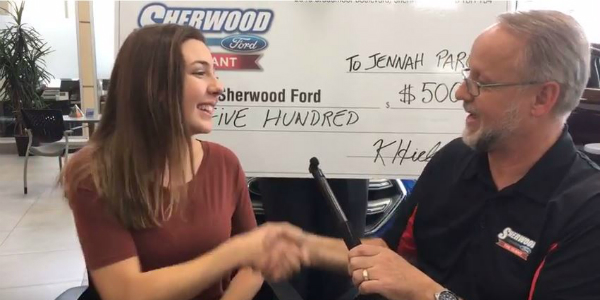 Sherwood Ford Sponsors Jennah Paron on Team Canada Dance Presenting Jennah Her Check