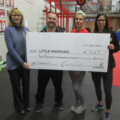 Members of Little Warriors and Sherwood Ford standing with cheque