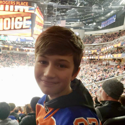 Banam Lindsey at Rogers Place enjoying Oilers game