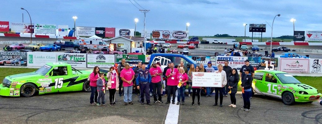 Members of Chase the Cure YEG and Sherwood Ford at Edmonton International Raceway