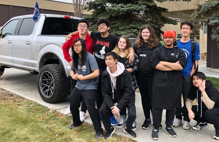 School Students from M.E. Lazarte in front of Custom Sherwood Ford truck