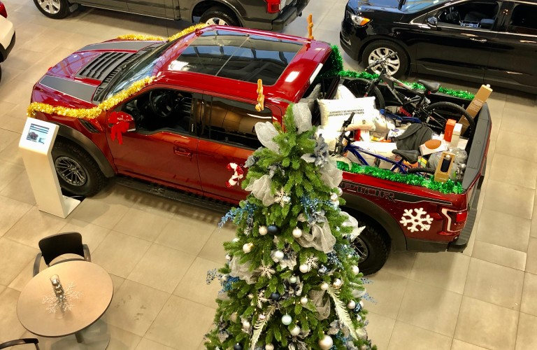 Overhead view of Ford F-150 loaded with gifts