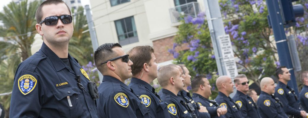 A stock photo of a line of police officers.